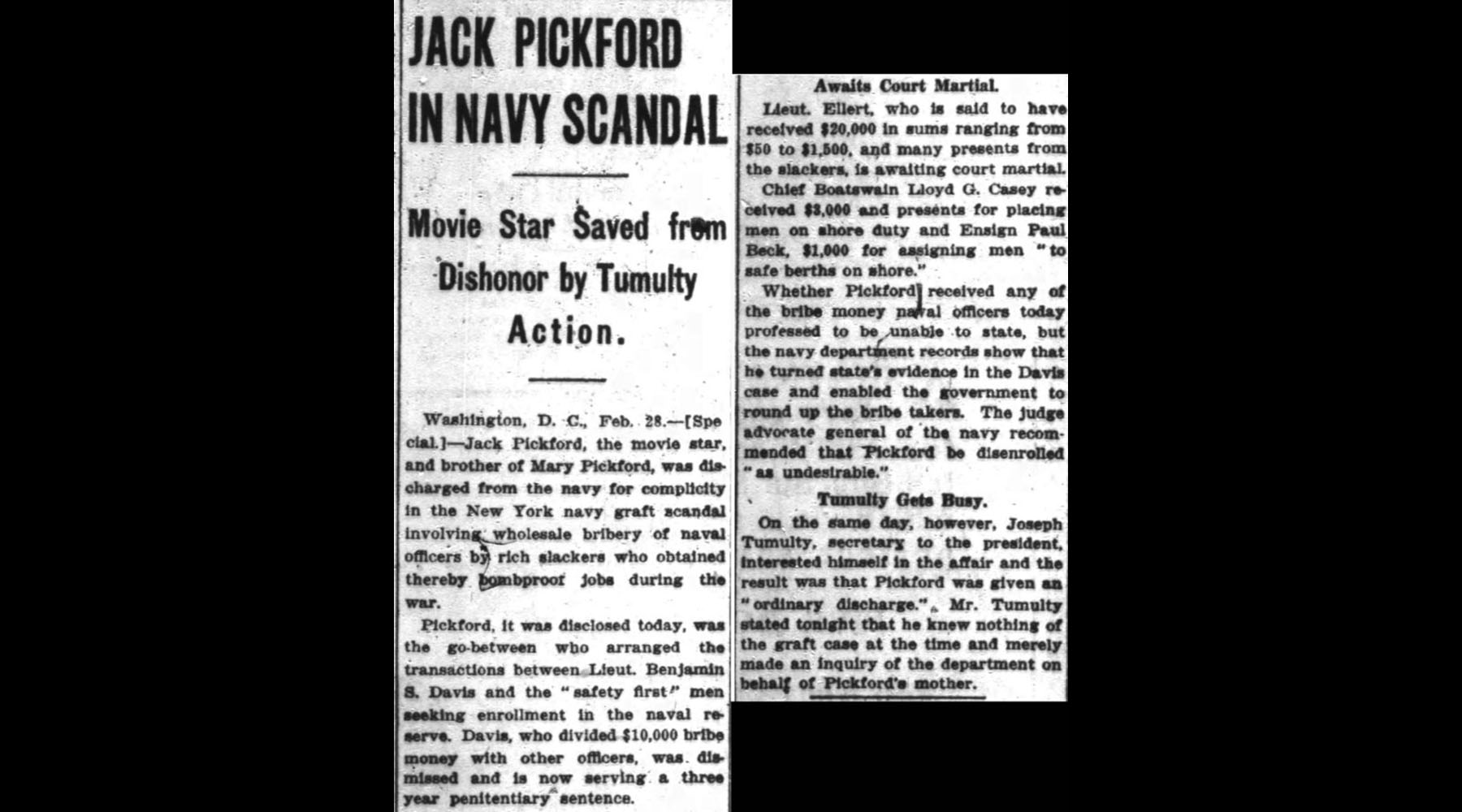 "Jack's mother spoke to some important people and got his discharge changed from dishonorable to ""ordinary."""