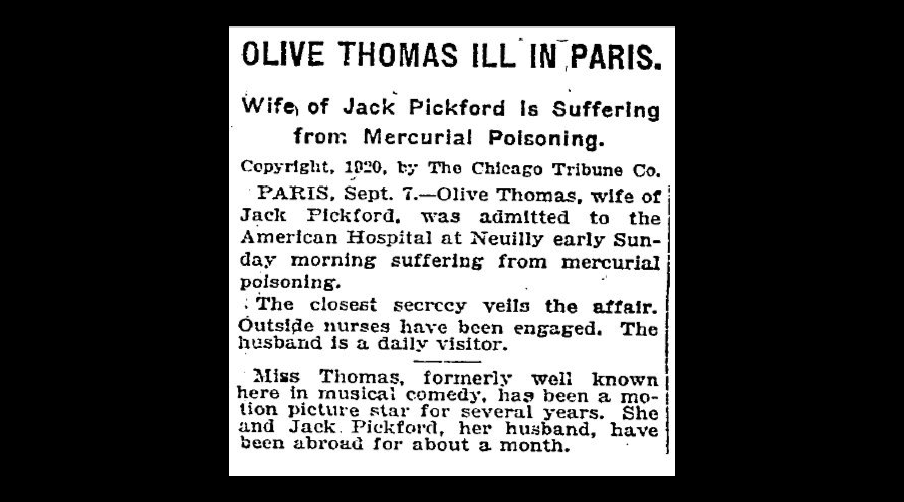 Olive drank poison around 3 a.m. at the Ritz Hotel that night. It's unclear if Jack was there at the time or if he was out.