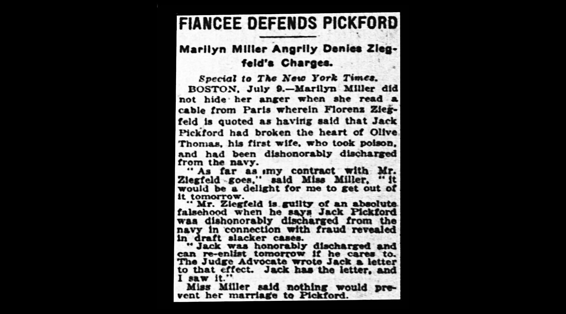 Marilyn publicly denies Florenz's claims about Jack and wants out of her contract with him. The marriage only lasts five years.